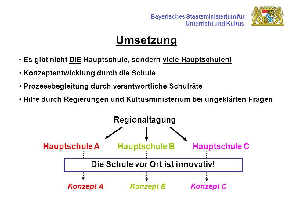Umsetzung Bayerisches Staatsministerium für Unterricht und Kultus Es gibt nicht DIE Hauptschule, sondern viele Hauptschulen.