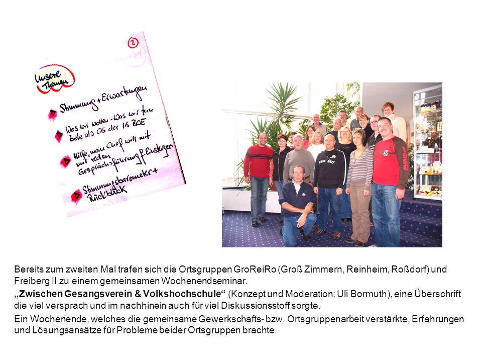 Bereits zum zweiten Mal trafen sich die Ortsgruppen GroReiRo (Groß Zimmern, Reinheim, Roßdorf) und Freiberg II zu einem gemeinsamen Wochenendseminar.