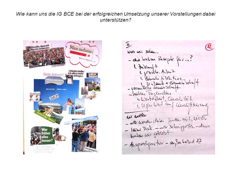 Wie kann uns die IG BCE bei der erfolgreichen Umsetzung unserer Vorstellungen dabei unterstützen?