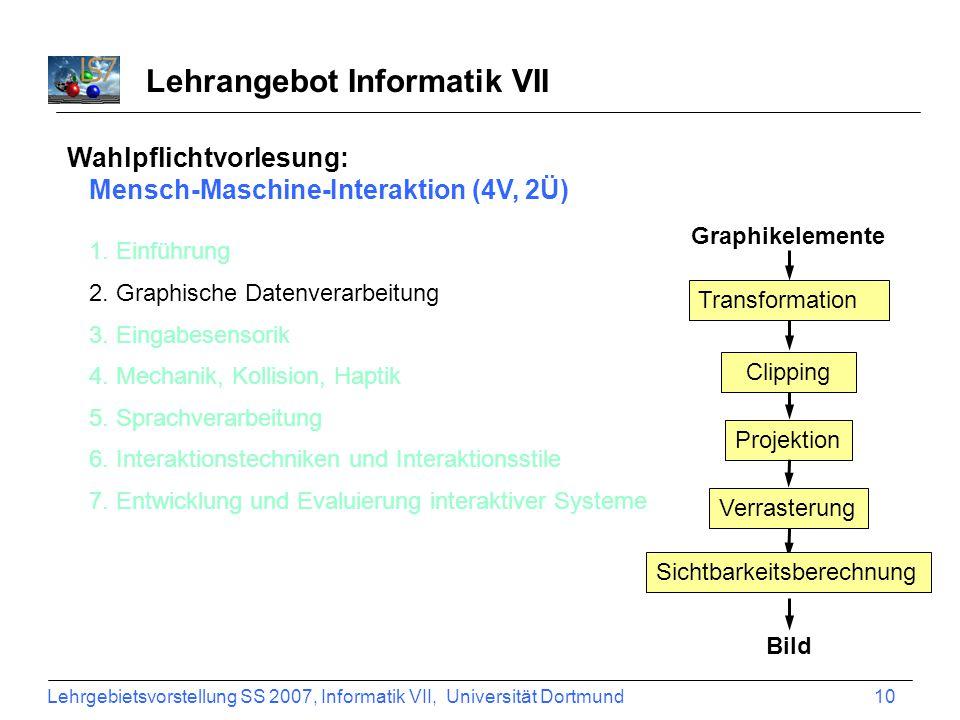 Lehrgebietsvorstellung SS 2007, Informatik VII, Universität Dortmund 10 Lehrangebot Informatik VII Wahlpflichtvorlesung: Mensch-Maschine-Interaktion (