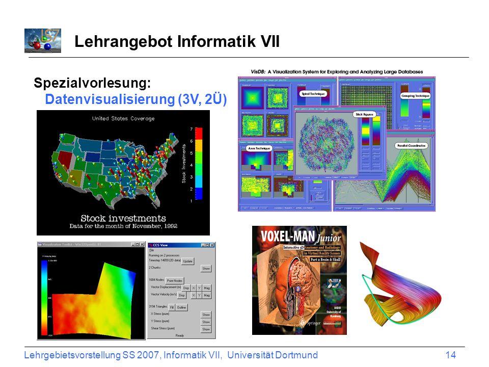 Lehrgebietsvorstellung SS 2007, Informatik VII, Universität Dortmund 14 Lehrangebot Informatik VII Spezialvorlesung: Datenvisualisierung (3V, 2Ü)