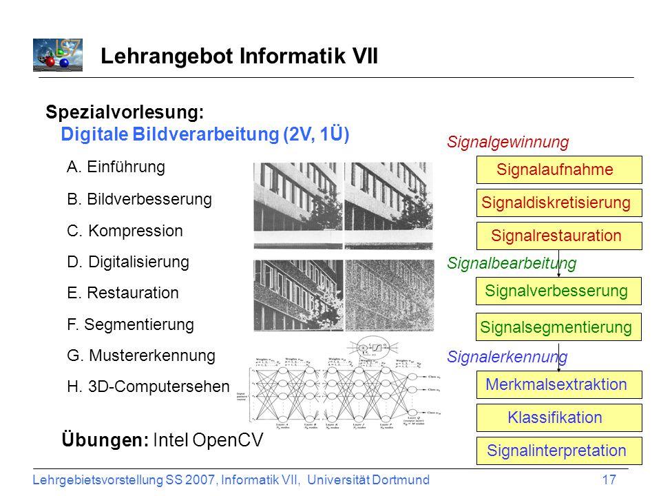 Lehrgebietsvorstellung SS 2007, Informatik VII, Universität Dortmund 17 Lehrangebot Informatik VII Spezialvorlesung: Digitale Bildverarbeitung (2V, 1Ü