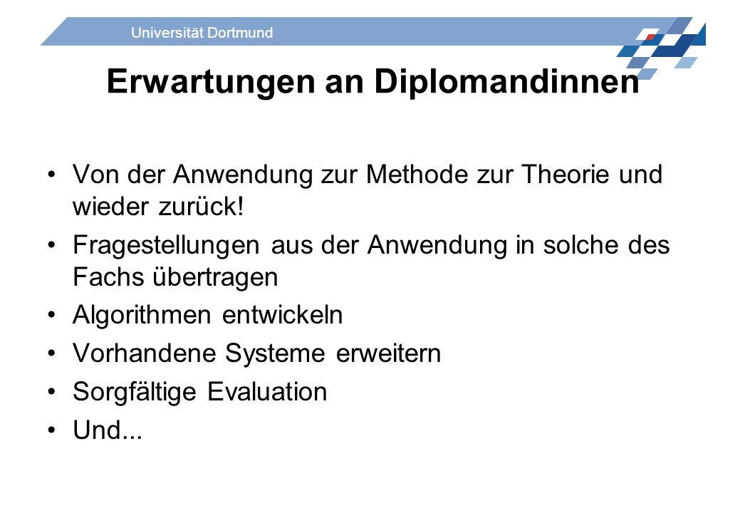 Universität Dortmund Erwartungen an Diplomandinnen Von der Anwendung zur Methode zur Theorie und wieder zurück! Fragestellungen aus der Anwendung in s