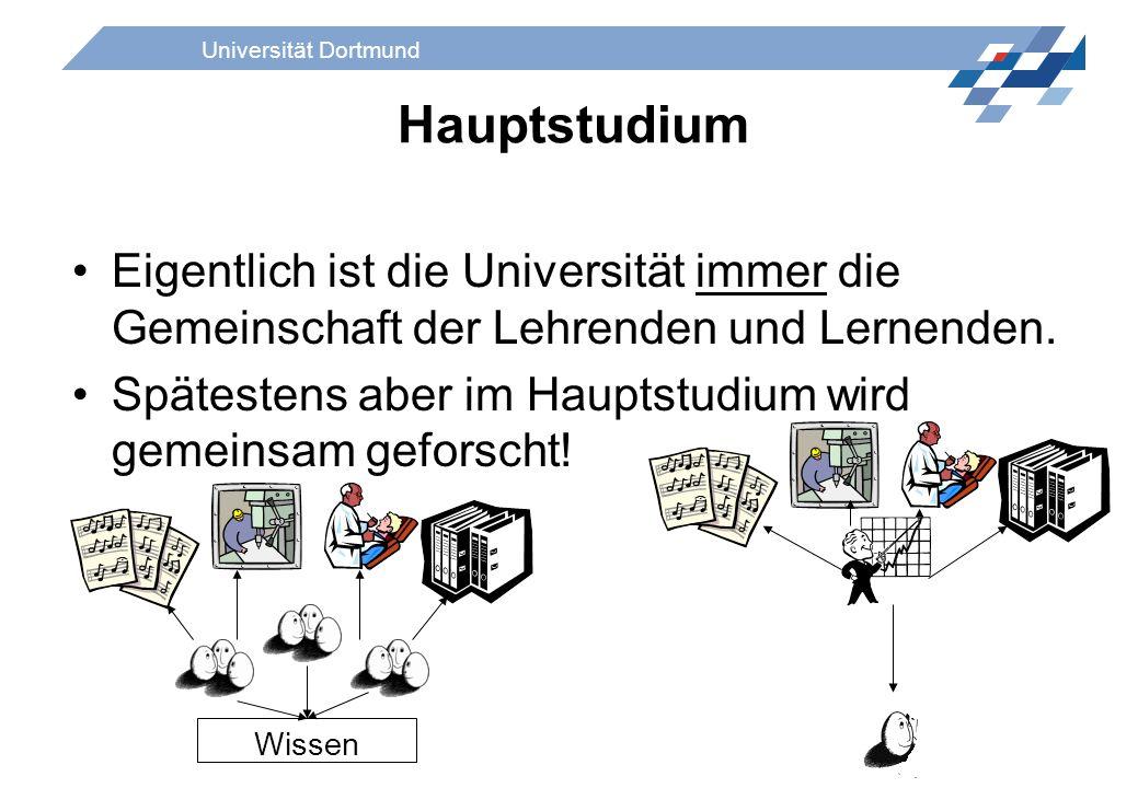 Universität Dortmund Hauptstudium Eigentlich ist die Universität immer die Gemeinschaft der Lehrenden und Lernenden. Spätestens aber im Hauptstudium w