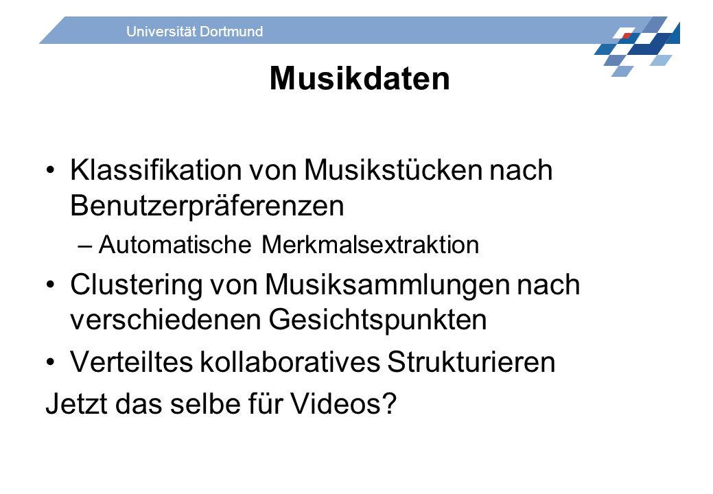 Universität Dortmund Musikdaten Klassifikation von Musikstücken nach Benutzerpräferenzen –Automatische Merkmalsextraktion Clustering von Musiksammlung