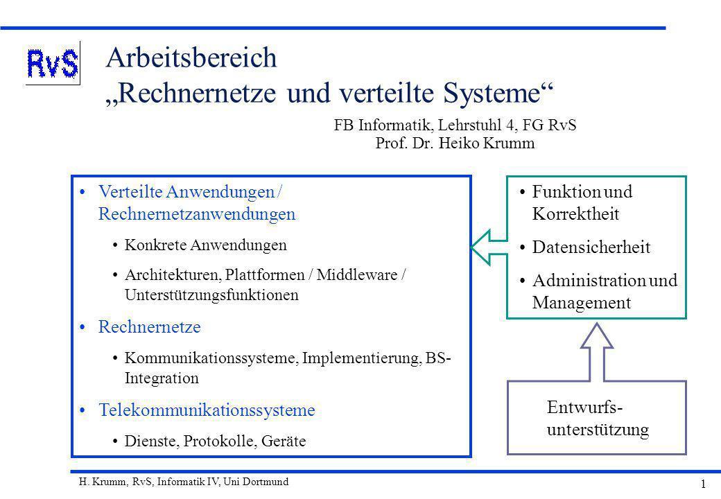 H. Krumm, RvS, Informatik IV, Uni Dortmund 1 Arbeitsbereich Rechnernetze und verteilte Systeme FB Informatik, Lehrstuhl 4, FG RvS Prof. Dr. Heiko Krum