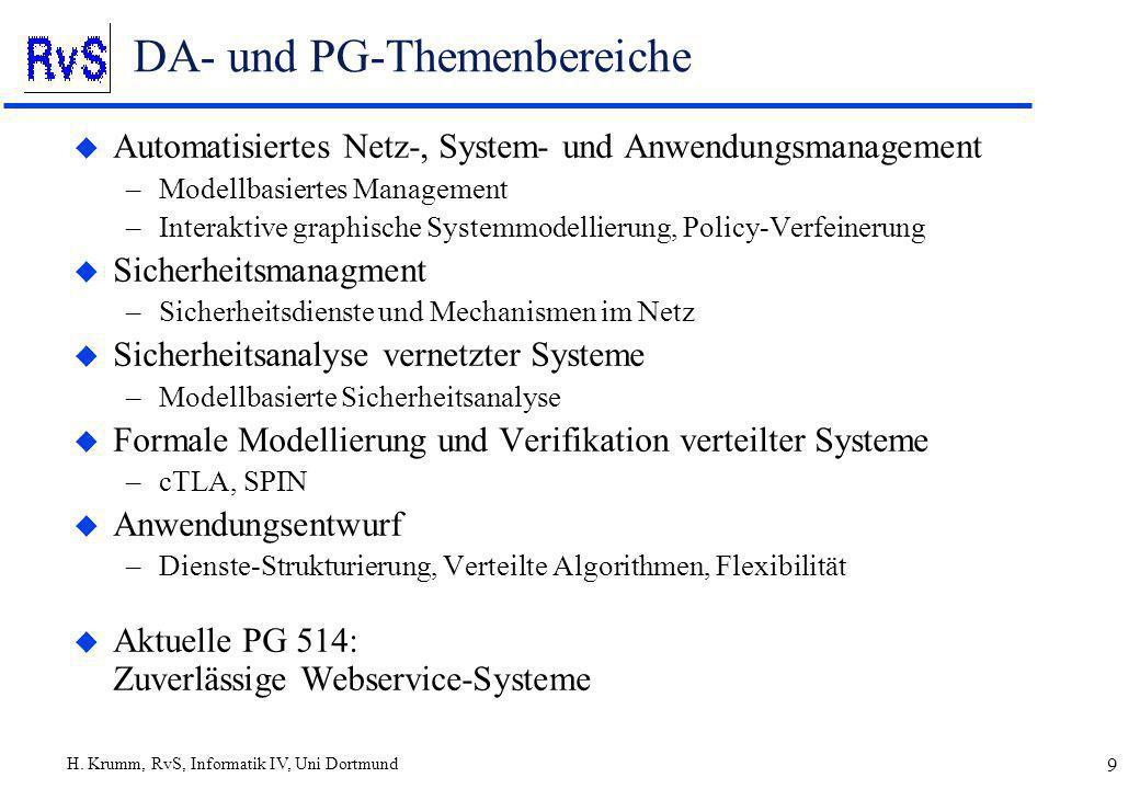 H. Krumm, RvS, Informatik IV, Uni Dortmund 9 DA- und PG-Themenbereiche u Automatisiertes Netz-, System- und Anwendungsmanagement –Modellbasiertes Mana