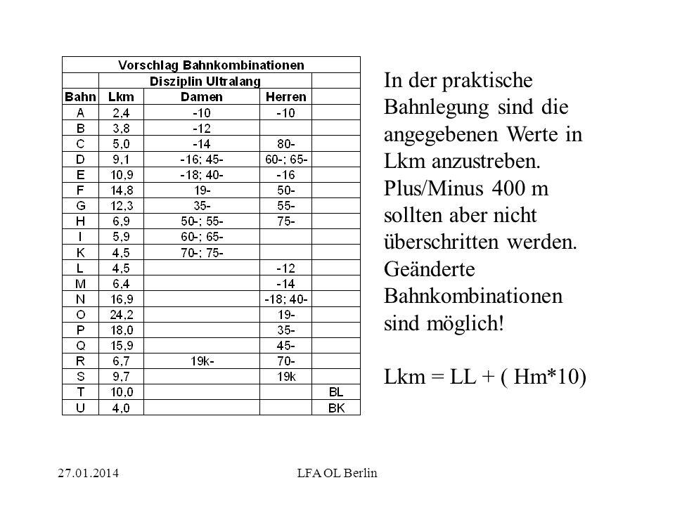 27.01.2014LFA OL Berlin In der praktische Bahnlegung sind die angegebenen Werte in Lkm anzustreben.