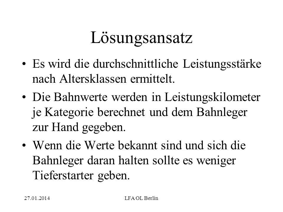 27.01.2014LFA OL Berlin Lösungsansatz Es wird die durchschnittliche Leistungsstärke nach Altersklassen ermittelt.