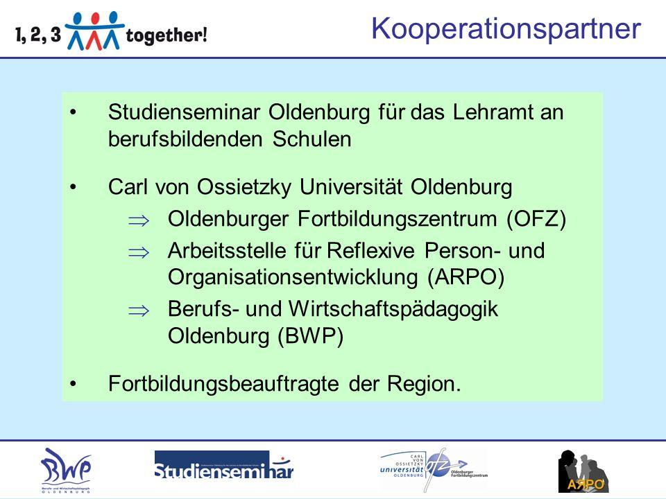 Kooperationspartner Studienseminar Oldenburg für das Lehramt an berufsbildenden Schulen Carl von Ossietzky Universität Oldenburg Oldenburger Fortbildungszentrum (OFZ) Arbeitsstelle für Reflexive Person- und Organisationsentwicklung (ARPO) Berufs- und Wirtschaftspädagogik Oldenburg (BWP) Fortbildungsbeauftragte der Region.
