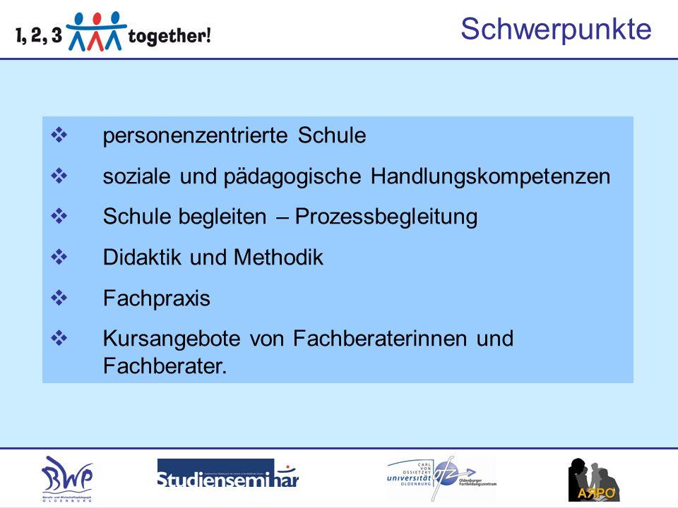 Schwerpunkte personenzentrierte Schule soziale und pädagogische Handlungskompetenzen Schule begleiten – Prozessbegleitung Didaktik und Methodik Fachpr