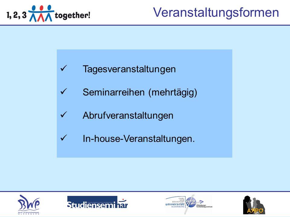 Veranstaltungsformen Tagesveranstaltungen Seminarreihen (mehrtägig) Abrufveranstaltungen In-house-Veranstaltungen.