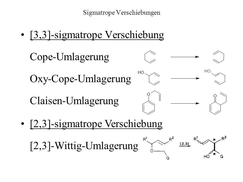 Sigmatrope Verschiebungen [3,3]-sigmatrope Verschiebung Cope-Umlagerung Oxy-Cope-Umlagerung Claisen-Umlagerung OH O O [2,3]-sigmatrope Verschiebung [2,3]-Wittig-Umlagerung