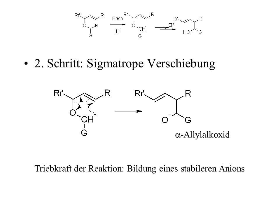 2. Schritt: Sigmatrope Verschiebung Triebkraft der Reaktion: Bildung eines stabileren Anions -Allylalkoxid