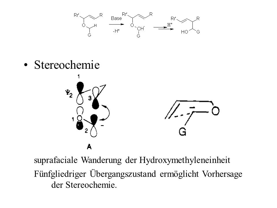 Stereochemie Fünfgliedriger Übergangszustand ermöglicht Vorhersage der Stereochemie. suprafaciale Wanderung der Hydroxymethyleneinheit