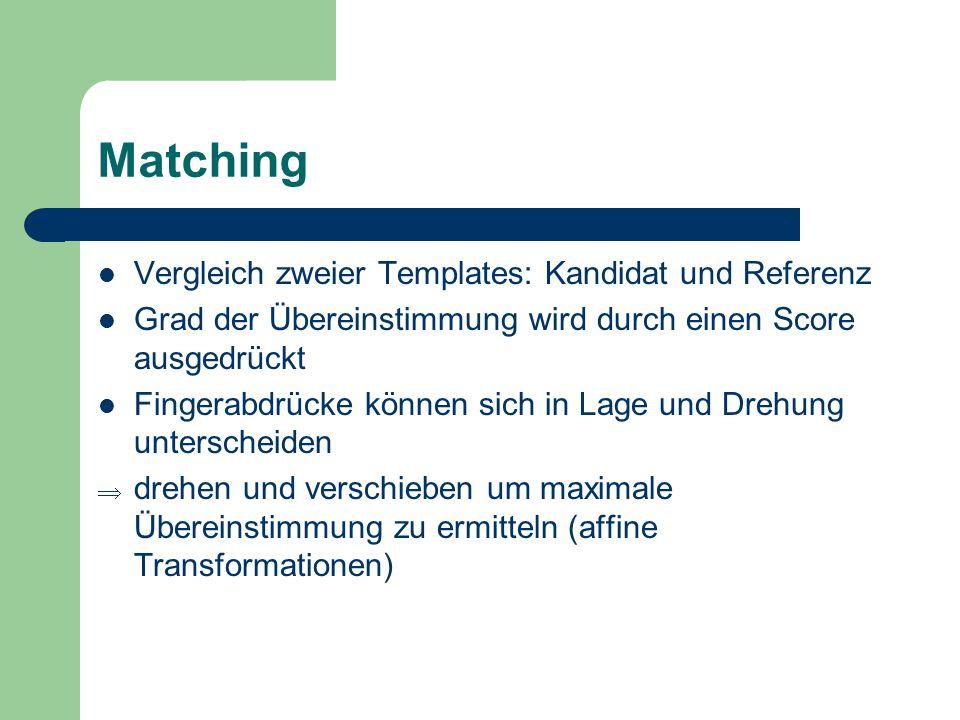 Matching Vergleich zweier Templates: Kandidat und Referenz Grad der Übereinstimmung wird durch einen Score ausgedrückt Fingerabdrücke können sich in L