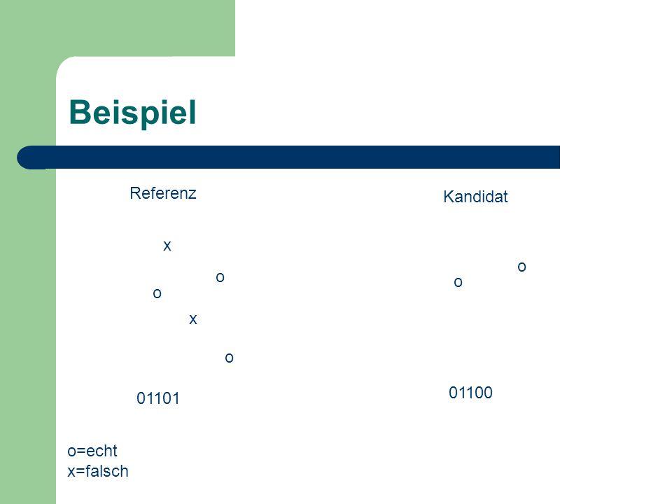 o Beispiel o x x o o 01100 01101 o Referenz Kandidat o=echt x=falsch