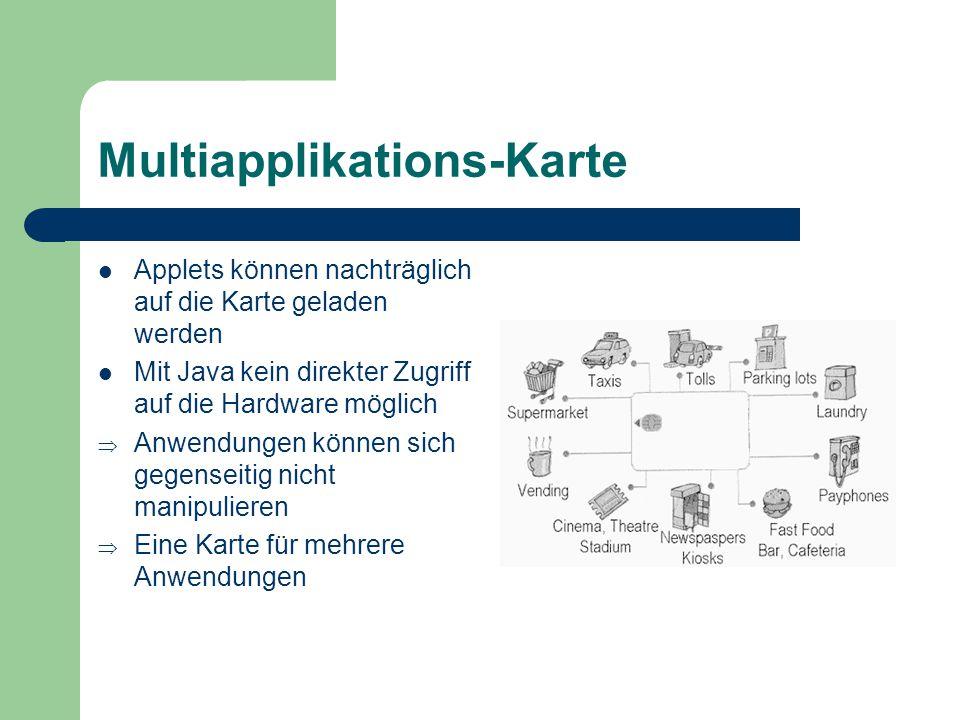 Multiapplikations-Karte Applets können nachträglich auf die Karte geladen werden Mit Java kein direkter Zugriff auf die Hardware möglich Anwendungen k
