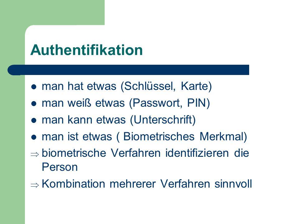 Authentifikation man hat etwas (Schlüssel, Karte) man weiß etwas (Passwort, PIN) man kann etwas (Unterschrift) man ist etwas ( Biometrisches Merkmal)