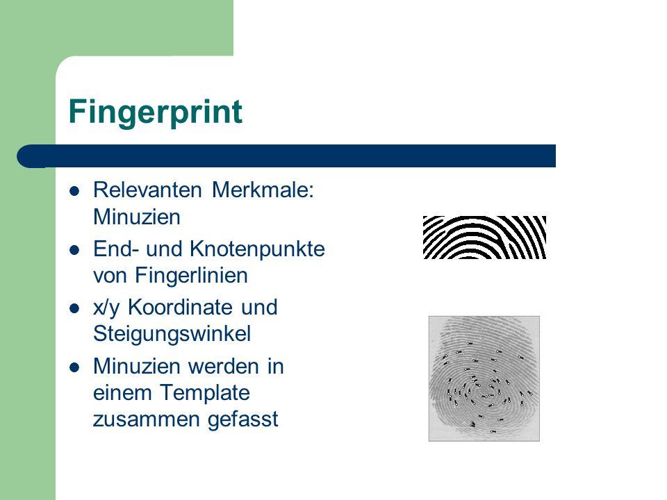 Matching Vergleich zweier Templates: Kandidat und Referenz Grad der Übereinstimmung wird durch einen Score ausgedrückt Fingerabdrücke können sich in Lage und Drehung unterscheiden drehen und verschieben um maximale Übereinstimmung zu ermitteln (affine Transformationen)
