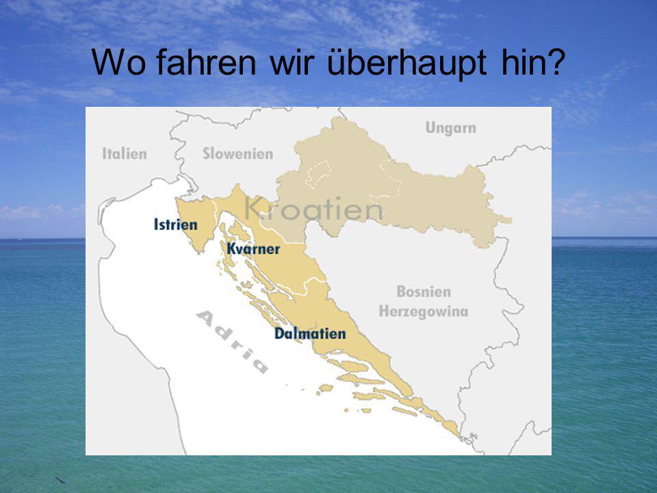Die Republik Kroatien grenzt im Norden an Slowenien und Ungarn, im Osten an Serbien und Montenegro sowie an Bosnien-Herzegowina und im Westen an das Mittelmeer (Adria).