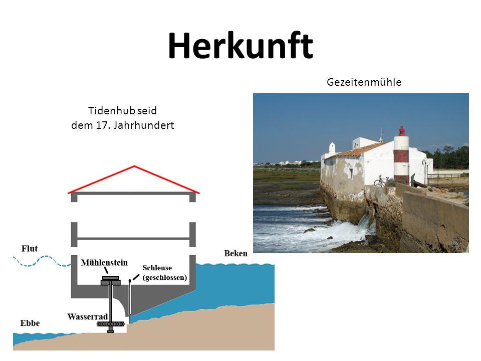 Herkunft Tidenhub seid dem 17. Jahrhundert Gezeitenmühle