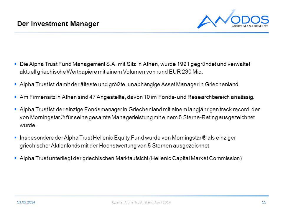 Der Investment Manager Die Alpha Trust Fund Management S.A. mit Sitz in Athen, wurde 1991 gegründet und verwaltet aktuell griechische Wertpapiere mit