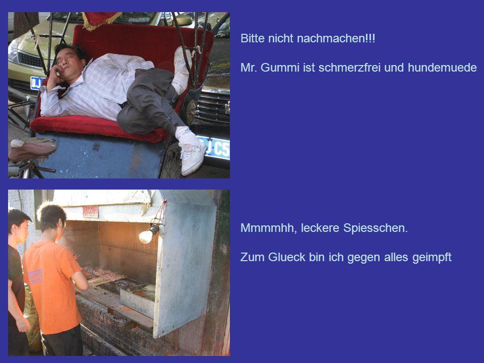 Bitte nicht nachmachen!!.Mr. Gummi ist schmerzfrei und hundemuede Mmmmhh, leckere Spiesschen.