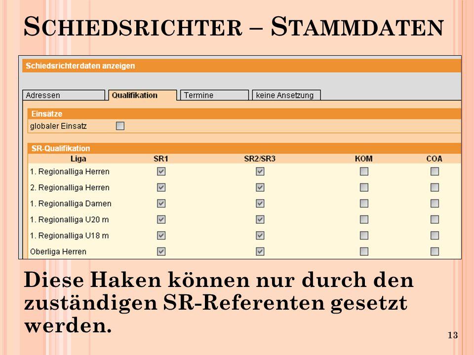 13 S CHIEDSRICHTER – S TAMMDATEN Diese Haken können nur durch den zuständigen SR-Referenten gesetzt werden.