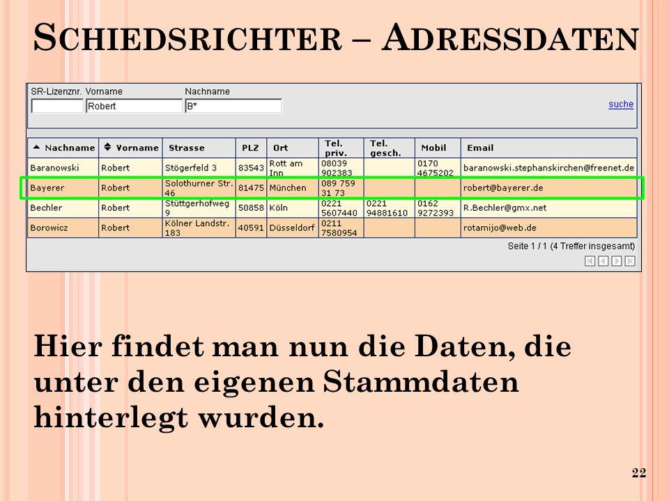 22 S CHIEDSRICHTER – A DRESSDATEN Hier findet man nun die Daten, die unter den eigenen Stammdaten hinterlegt wurden.