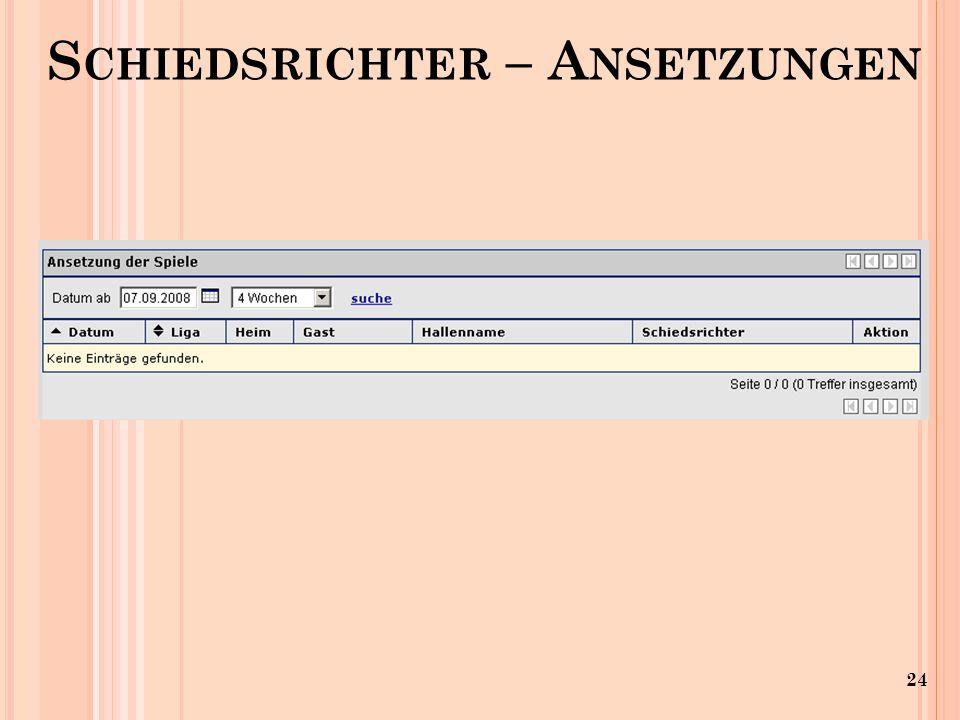 24 S CHIEDSRICHTER – A NSETZUNGEN