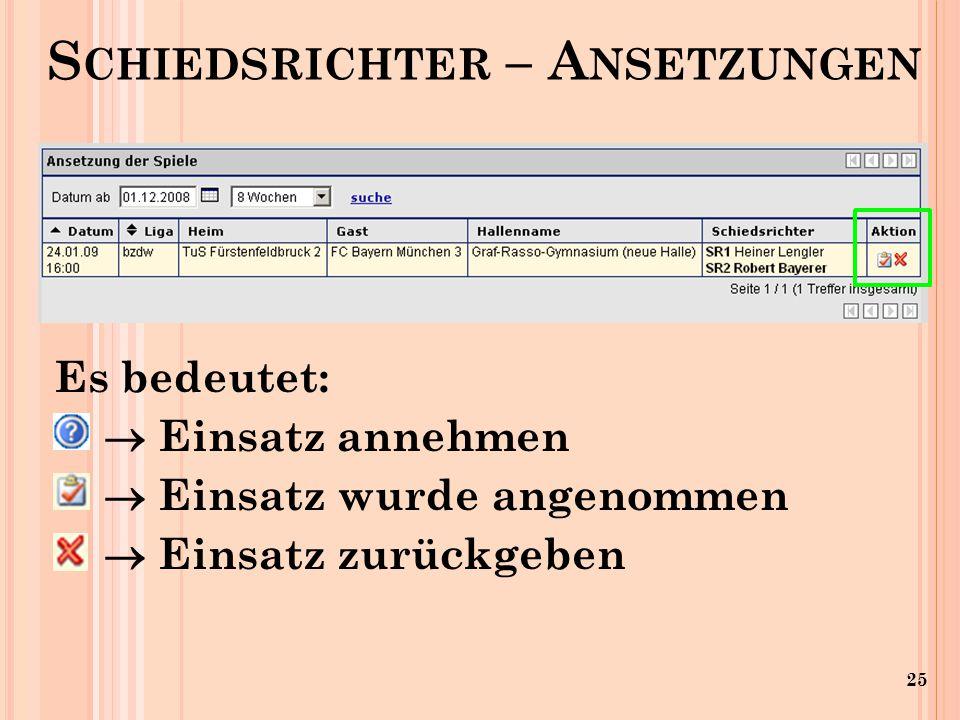 25 Es bedeutet: Einsatz annehmen Einsatz wurde angenommen Einsatz zurückgeben S CHIEDSRICHTER – A NSETZUNGEN