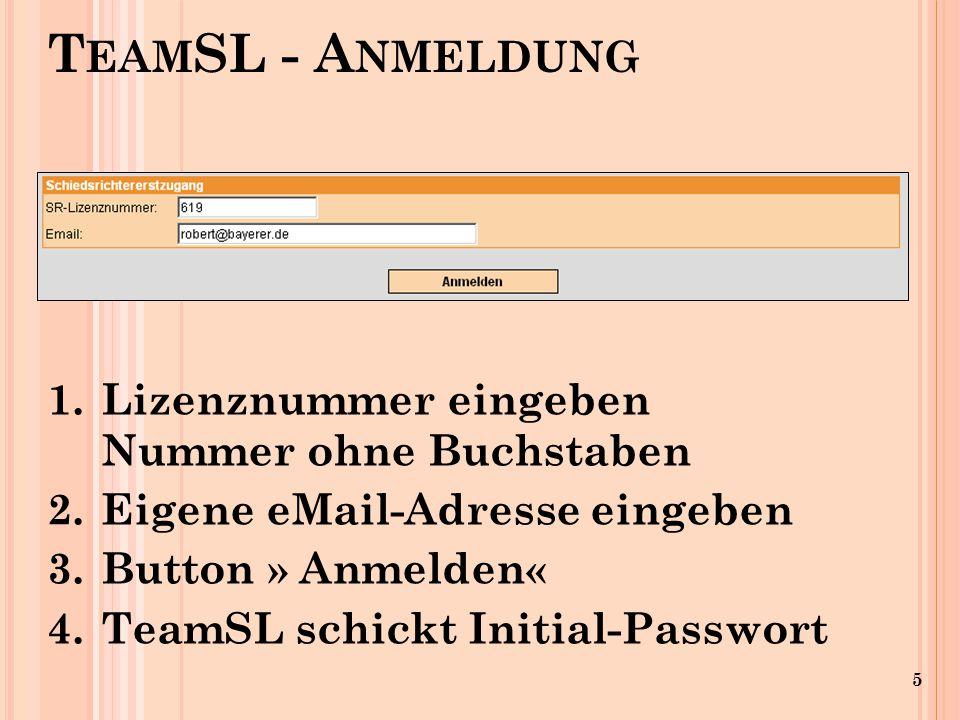 5 1.Lizenznummer eingeben Nummer ohne Buchstaben 2.Eigene eMail-Adresse eingeben 3.Button » Anmelden « 4.TeamSL schickt Initial-Passwort