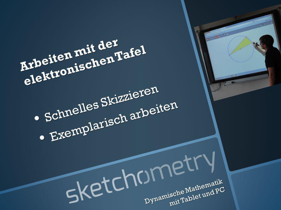 Arbeiten mit der elektronischen Tafel Schnelles Skizzieren Schnelles Skizzieren Exemplarisch arbeiten Exemplarisch arbeiten Dynamische Mathematik mit Tablet und PC