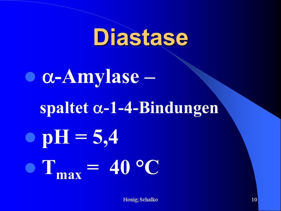 Honig; Schalko10 Diastase -Amylase – spaltet -1-4-Bindungen pH = 5,4 T max = 40 °C