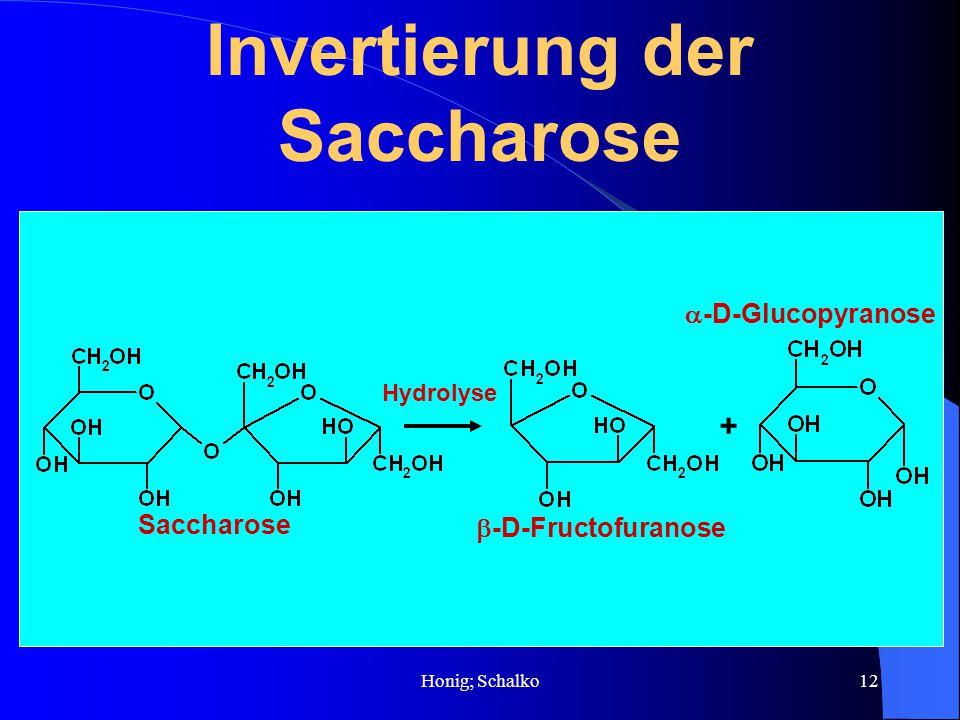 Honig; Schalko12 Invertierung der Saccharose + Saccharose -D-Fructofuranose -D-Glucopyranose Hydrolyse