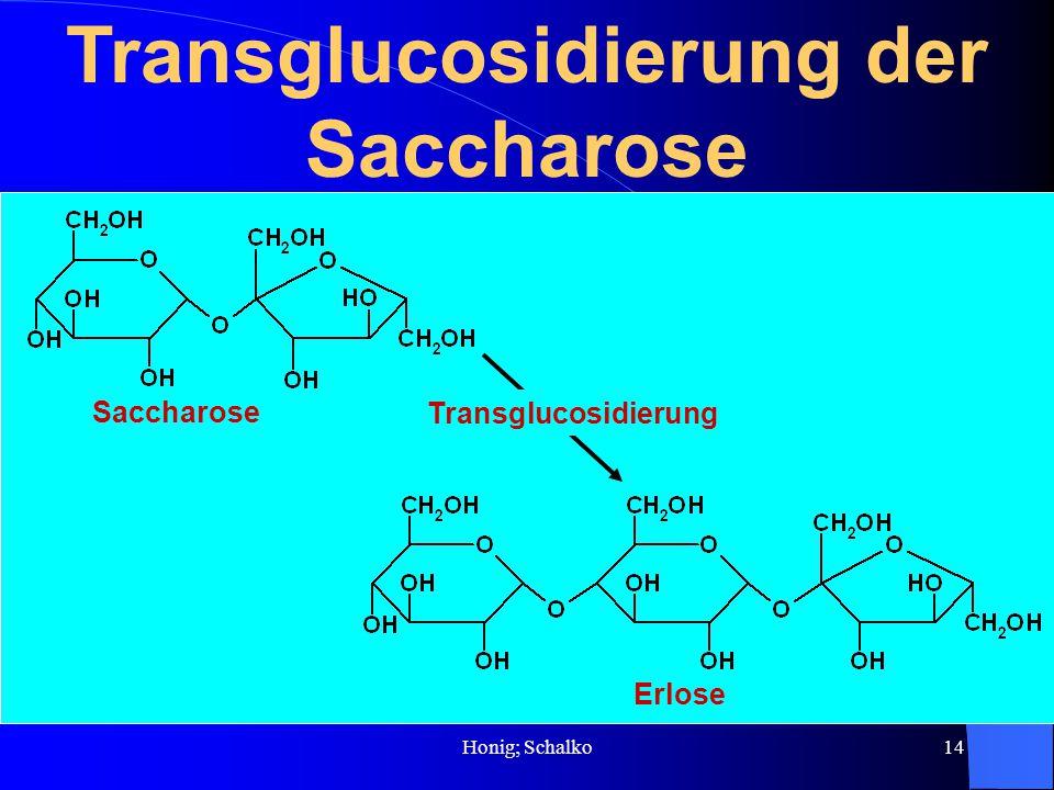 Honig; Schalko14 Transglucosidierung der Saccharose Saccharose Erlose Transglucosidierung