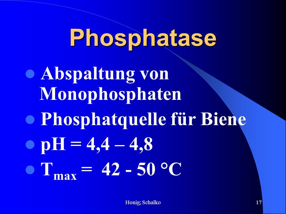 Honig; Schalko17 Phosphatase Abspaltung von Monophosphaten Phosphatquelle für Biene pH = 4,4 – 4,8 T max = 42 - 50 °C