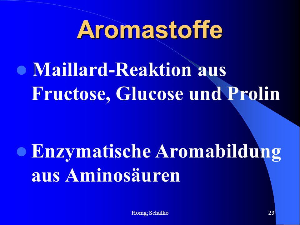 Honig; Schalko23 Aromastoffe Maillard-Reaktion aus Fructose, Glucose und Prolin Enzymatische Aromabildung aus Aminosäuren