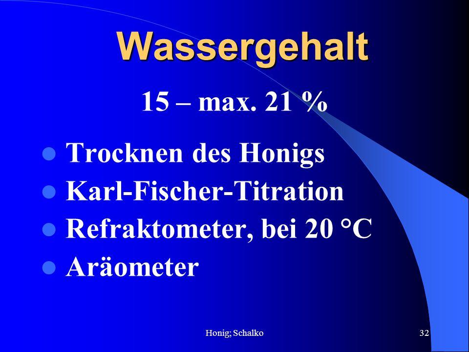 Honig; Schalko32 Wassergehalt 15 – max. 21 % Trocknen des Honigs Karl-Fischer-Titration Refraktometer, bei 20 °C Aräometer