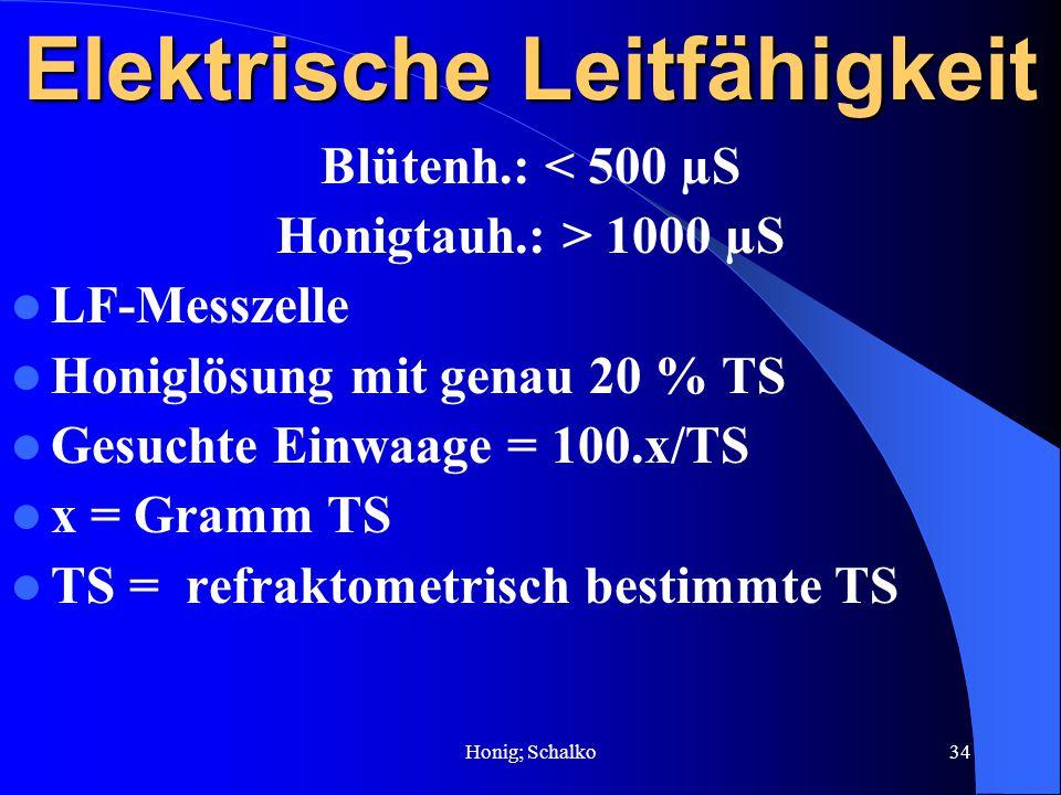 Honig; Schalko34 Elektrische Leitfähigkeit Blütenh.: < 500 µS Honigtauh.: > 1000 µS LF-Messzelle Honiglösung mit genau 20 % TS Gesuchte Einwaage = 100