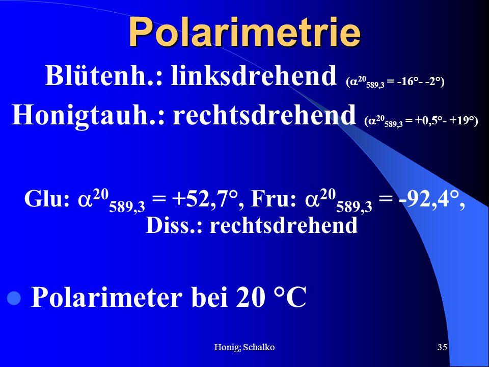 Honig; Schalko35Polarimetrie Blütenh.: linksdrehend ( 20 589,3 = -16°- -2°) Honigtauh.: rechtsdrehend ( 20 589,3 = +0,5°- +19°) Glu: 20 589,3 = +52,7°