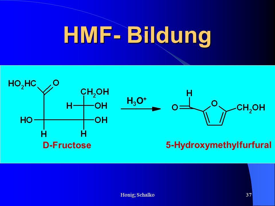 Honig; Schalko37 HMF- Bildung D-Fructose 5-Hydroxymethylfurfural H3O+H3O+
