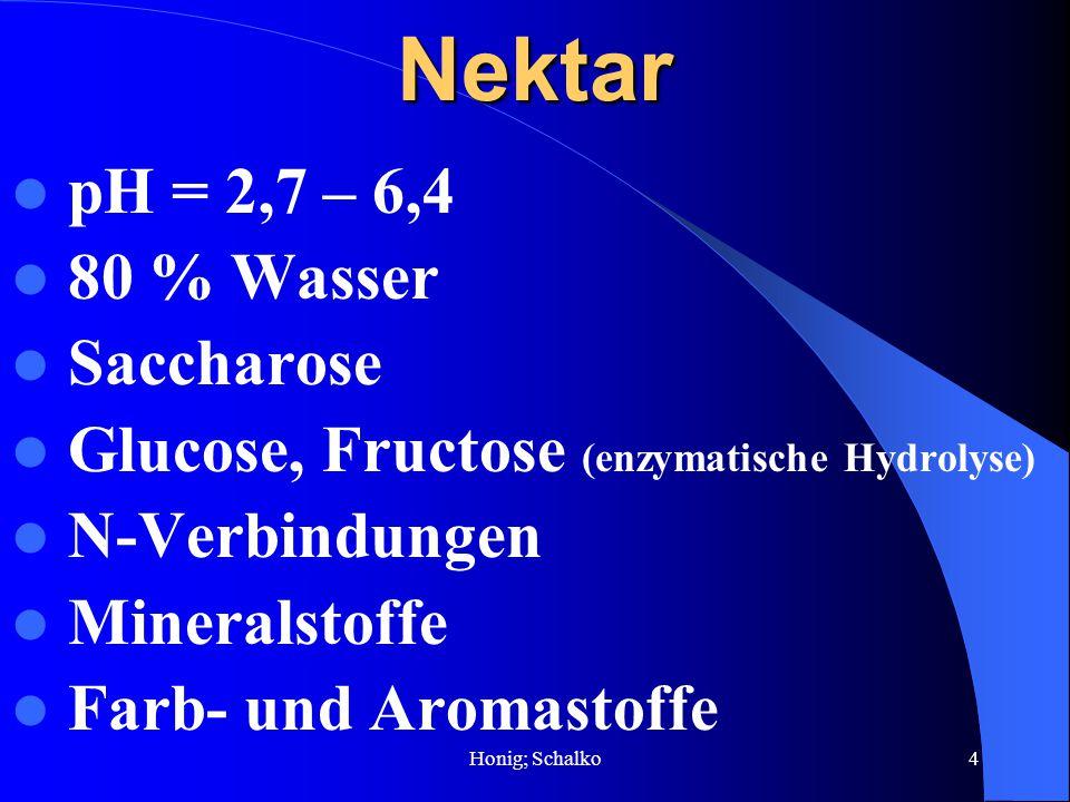 Honig; Schalko4Nektar pH = 2,7 – 6,4 80 % Wasser Saccharose Glucose, Fructose (enzymatische Hydrolyse) N-Verbindungen Mineralstoffe Farb- und Aromasto