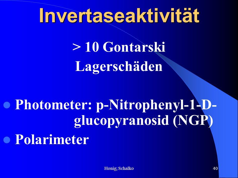 Honig; Schalko40Invertaseaktivität > 10 Gontarski Lagerschäden Photometer: p-Nitrophenyl-1-D- glucopyranosid (NGP) Polarimeter