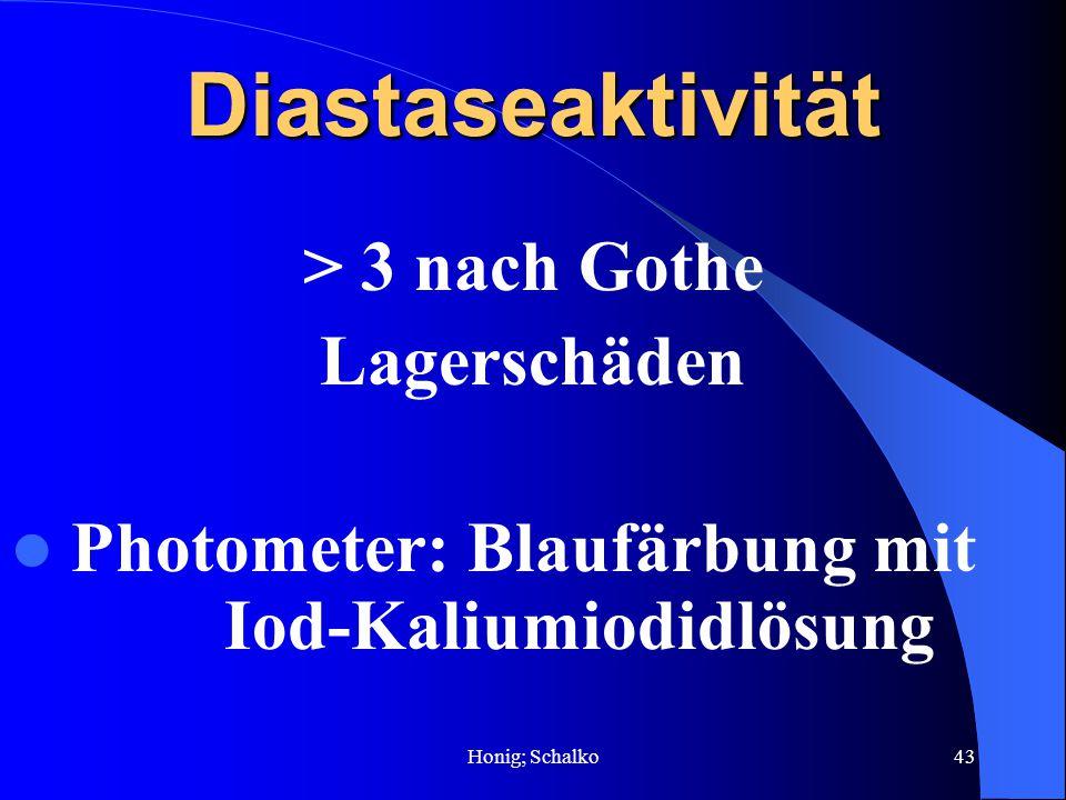 Honig; Schalko43Diastaseaktivität > 3 nach Gothe Lagerschäden Photometer: Blaufärbung mit Iod-Kaliumiodidlösung
