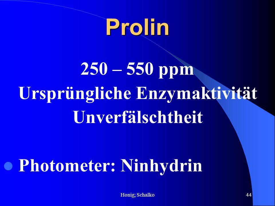 Honig; Schalko44Prolin 250 – 550 ppm Ursprüngliche Enzymaktivität Unverfälschtheit Photometer: Ninhydrin