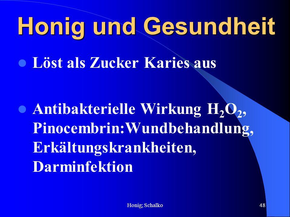 Honig; Schalko48 Honig und Gesundheit Löst als Zucker Karies aus Antibakterielle Wirkung H 2 O 2, Pinocembrin:Wundbehandlung, Erkältungskrankheiten, D