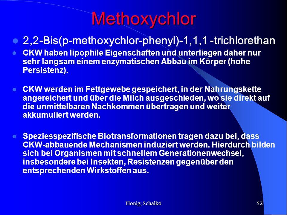Honig; Schalko52Methoxychlor 2,2-Bis(p-methoxychlor-phenyl)-1,1,1 -trichlorethan CKW haben lipophile Eigenschaften und unterliegen daher nur sehr lang