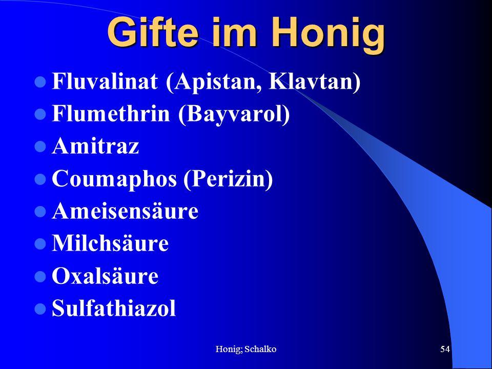 Honig; Schalko54 Gifte im Honig Fluvalinat (Apistan, Klavtan) Flumethrin (Bayvarol) Amitraz Coumaphos (Perizin) Ameisensäure Milchsäure Oxalsäure Sulf